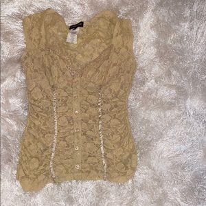 Gold 🤎lace bodice shirt 2/20% 3/25-%